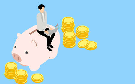 Educational image of money, men and coins sitting in a piggy bank and touching a laptop, isometric