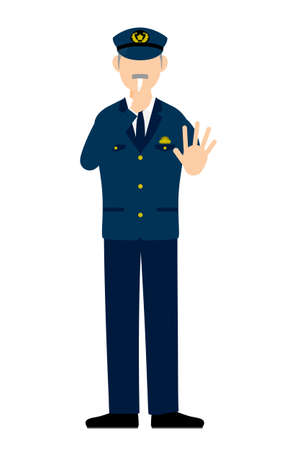 Senior male police officer posing, Blowing a whistle to stop Ilustración de vector