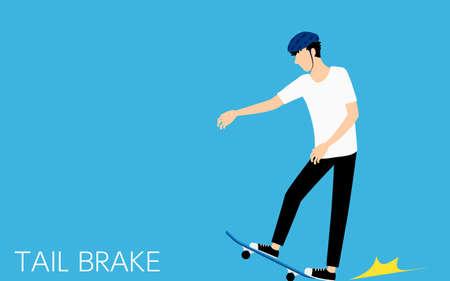 Basic skateboarding pose, man stopping with tail brake.