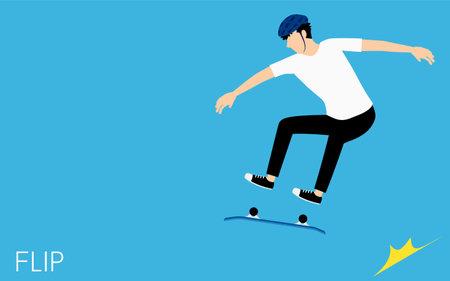 Skateboarding flip tricks, a man spinning the deck while flying. Vector Illustratie