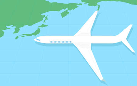 A simple map of the world around Japan and an overhead view of a model airplane