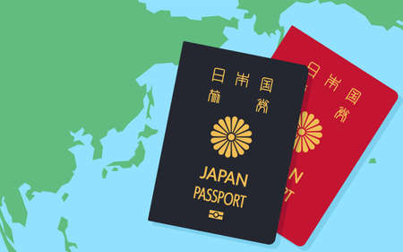 World Map around Japan and Japanese Passports, General Travel Documents, Dark Blue and Red - Translation: Japanese Passport
