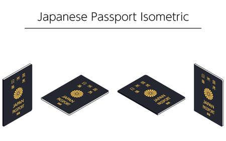 Japanese General Passport, Dark Blue Isometric - Translation: Japanese Passport Illusztráció