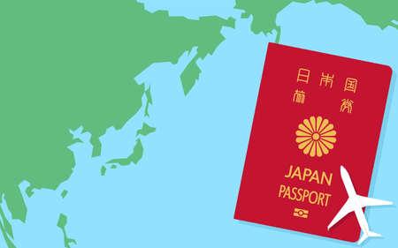 World map around Japan, Japanese passport and model airplane, general passport Red - Translation: Japanese passport