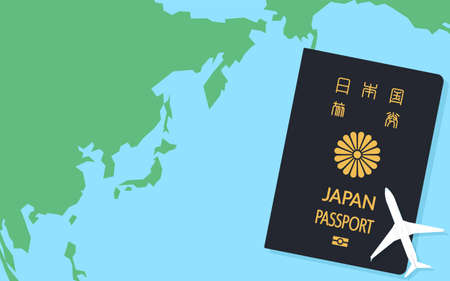 Map of the world around Japan and Japanese passport, general passport Dark Blue - Translation: Japanese passport