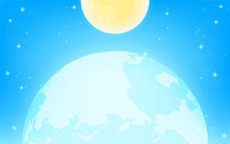 The fantastic earth and moon in a sparkling blue universe. Illusztráció