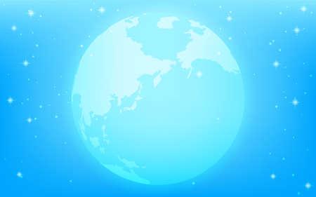 A fantastic earth floating in a sparkling blue universe Illusztráció