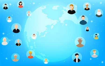 Global business image, glowing blue earth and business partners around the world
