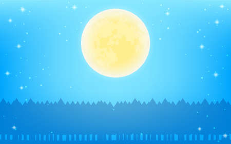 Full moon and forest silhouettes in a sparkling starry sky