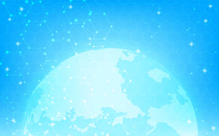 Network image, glowing blue earth and glowing hexagon pattern