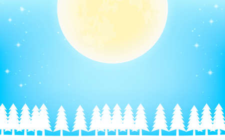 White Christmas, landscape with full moon and white fir trees