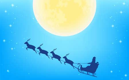 Full moon and silhouette of Santa Claus flying in reindeer sleigh Illusztráció