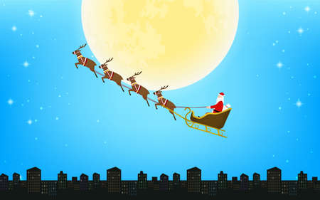 Santa Claus flying in reindeer sleigh, silhouette background with full moon and cityscape Illusztráció