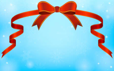 Gorgeous red ribbon and blue sparkly snowflake background