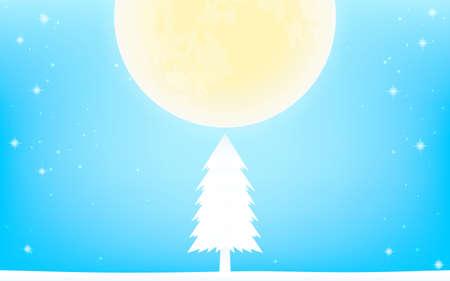White Christmas, full moon and white fir tree Illusztráció