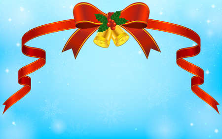 Gorgeous red ribbon (with Christmas bells) and blue sparkly snowflake background Stock fotó