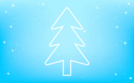 White Christmas, white fir trees and sparkling snow falling background