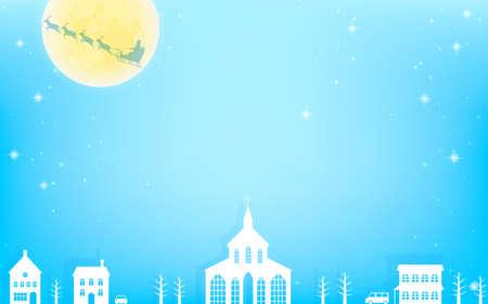 Christmas Eve landscape, flying Santa and cityscape Illusztráció