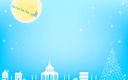 A Christmas Eve scene, a city with a flying Santa and a Christmas tree
