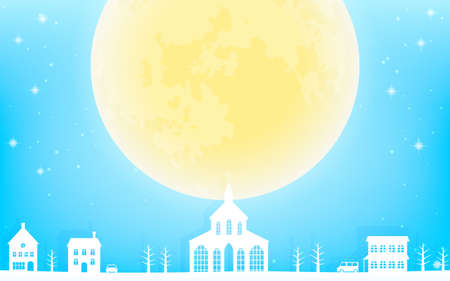 Large moon, white cityscape, and sparkling blue background