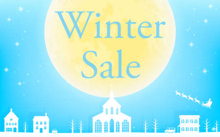 Winter Sale, Flying Santa and Big Moon, White City and Glittering Snowfall Background