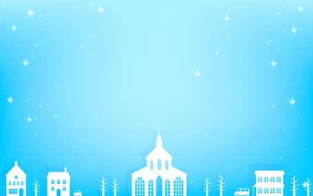 White cityscape landscape with glittering snow, blue background