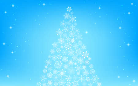 Snowflake Christmas tree and glittering background