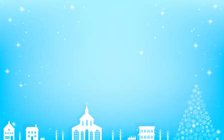 Landscape of a city with a white church and a snowflake Christmas tree