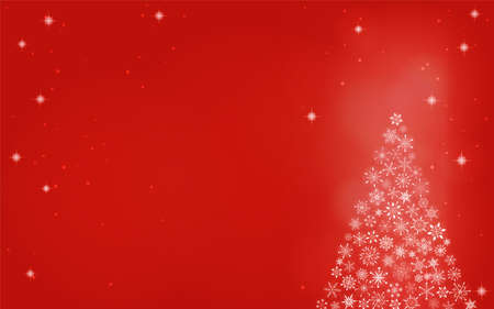Christmas tree with glittering snowflakes, red background Stock fotó