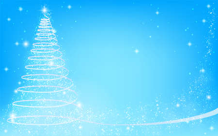 Christmas tree with glittery ribbon, blue background