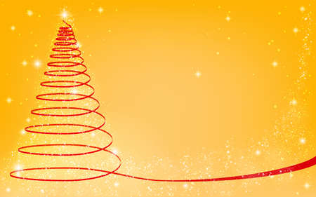 Christmas tree with glittery ribbon, yellow background Stock fotó