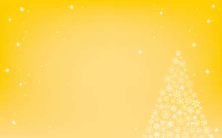 Christmas tree with glittering snowflakes, yellow background