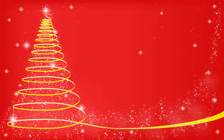 Christmas tree with glittery ribbon, red background