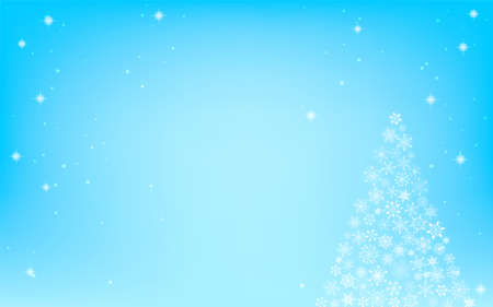 Christmas tree with glittering snowflakes, blue background