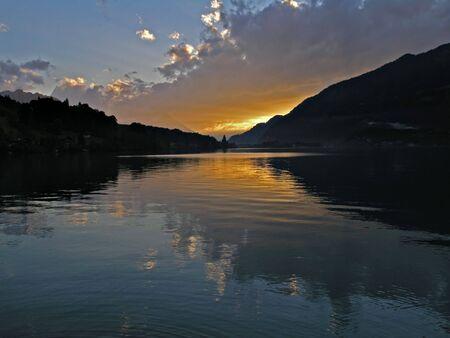 a sunset in Switzerland Interlauken Stock Photo