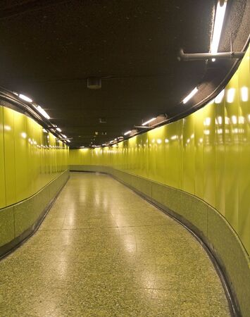 endless underground subway corridor in Hong Kong
