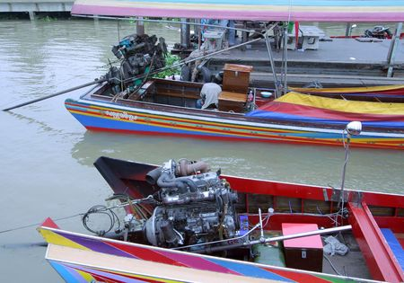 colorful power boats in Bangkok