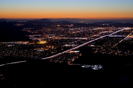 twilight over city lights in Los Angeles suburb