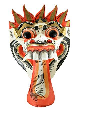 bright, colorful mask with large tongue