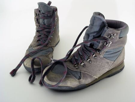 a worn pair of hiking boots