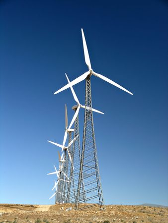 alternate: a line of wind turbines near Palm Springs Stock Photo