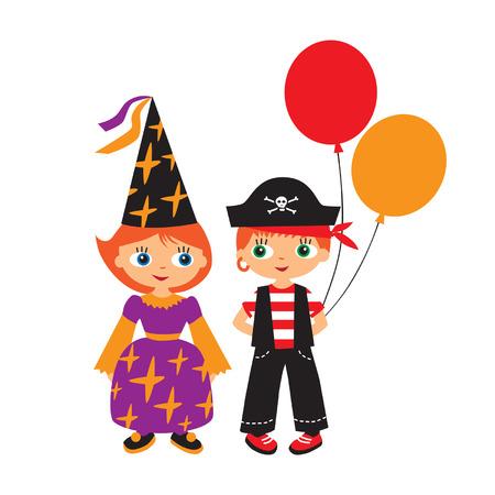 children in masquerade costumes Stock Vector - 24952471