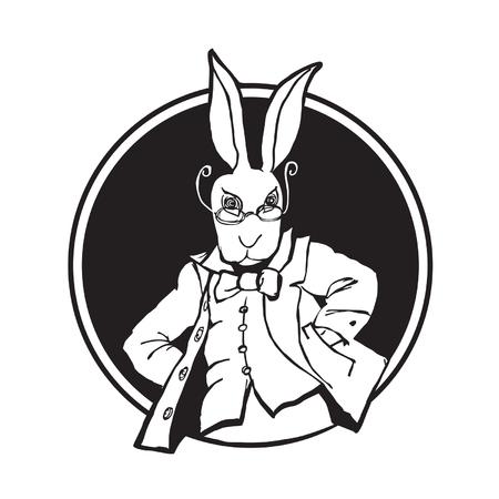 wit konijn: illustratie wit konijn Stock Illustratie