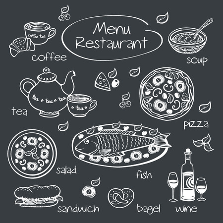Restaurant menu  Drawing with chalk on a blackboard  Vector illustration  Vector