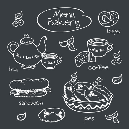 Bakery menu  Drawing with chalk on a blackboard  Vector