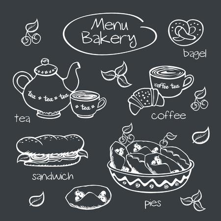 Bakery menu  Drawing with chalk on a blackboard