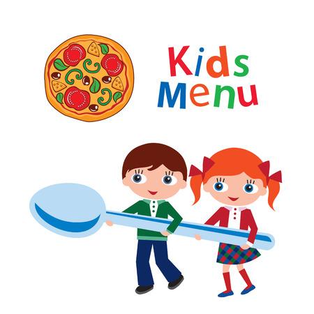 Kids menu  Cover for children s menu  Vector illustration  Vector