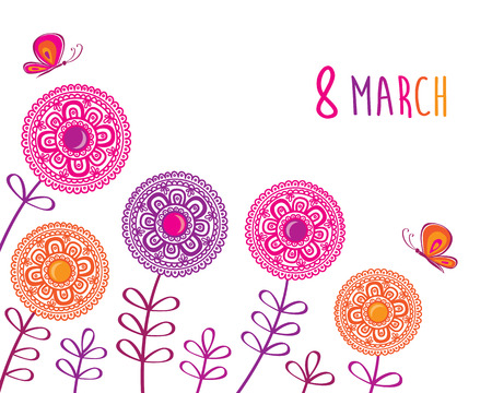 march 8: Greeting card with March 8. Illustration