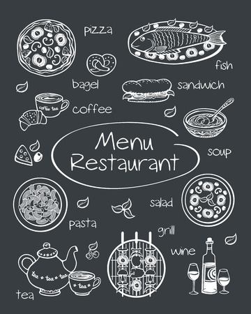 name plate: Restaurant menu. Cover for restaurant menu, cafe. Pictures drawn in chalk on a blackboard. Sketch. Vector illustration.