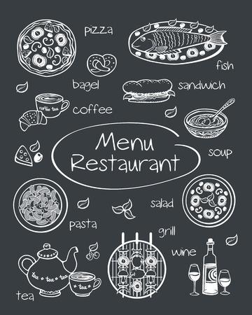 Restaurant menu. Dekking voor restaurant menu, café. Foto's getrokken in krijt op een schoolbord. Schets. Vector illustratie. Vector Illustratie